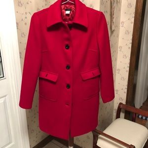 j crew wool red winter coat fully lined long 4